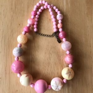 Pink Bauble Necklace Yellow Floral Designs Vintage